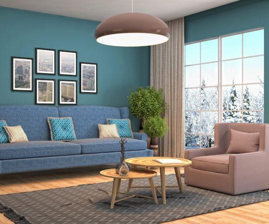 青い壁のリビングルーム